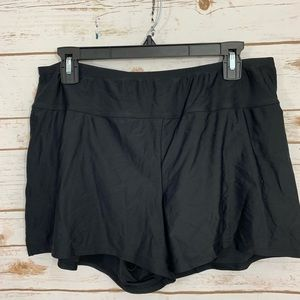Ava & VIV Black Nylon Plus Size Shorts 16W/18W